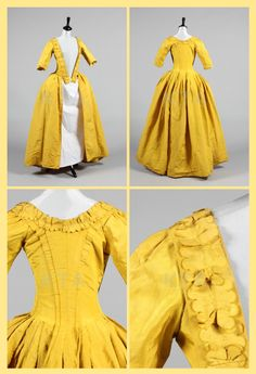 A Chinese-yellow silk open-robe, circa 1770, with fitted English-back, pinked ribbons to the bodice robings, skirt with pocket slits, bodice lined in natural linen. Kerry Taylor Auctions.