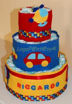 Coloratissima torta di pannolini, tema mezzi di trasporto di Logofantasy su Etsy -diaper cake - car - bus - baby - shower paty - baby boys
