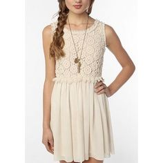 Staring At Stars Crochet Top Lace Cream Dress