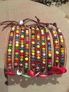 """Colorful """"Arm Candy"""" Bracelets for Kids or Teens Vintage Buttons Glass Beads Leather Cord by VintageSpiritDesigns on Etsy"""