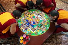 Sand mandalas are an artistic tradition in Tibetan Buddhism then destroyed in a ceremony.