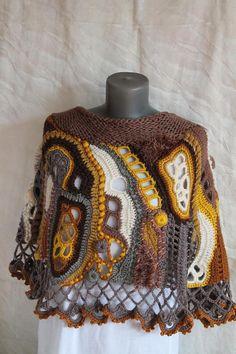 Ganchillo grueso Poncho Poncho de Crochet Freeform capa