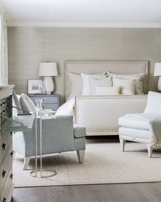Meadow House Master Bedroom, grasscloth wallpaper, custom upholstery, art