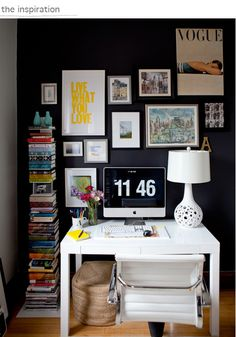 love the colors, posters, wall collage of inspiration, pile of books..