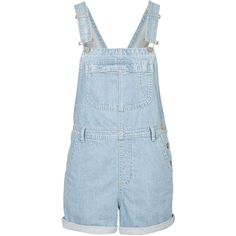 TOPSHOP MOTO Bleach Short Dungarees (€52) ❤ liked on Polyvore featuring jumpsuits, rompers, denim, playsuit, short overall, topshop, blue rompers, short romper y overall romper