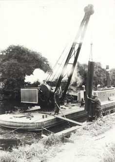"Caption: ""Piling work at Norwood on the Grand Union Canal"" Steam Boats, Lakefront Property, London Pictures, Parasailing, Canal Boat, Narrowboat, Boat Rental, Lake George, Boat Tours"