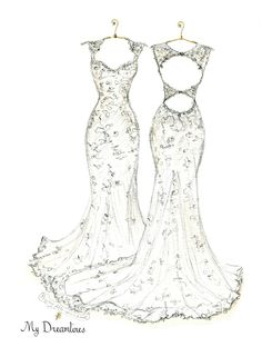 Personal Wedding Dress Sketch   Anniversary Gift   Wedding Gift   Wedding Day Gift From Groom   Bridal Shower Gift   Wedding Guestbook http://www.mydreamlines.com/ #weddinggift #anniversarygift #weddingdresssketch