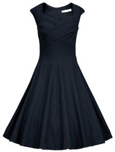 Navy Heart Shape Collar Sleeveless Flare Dress
