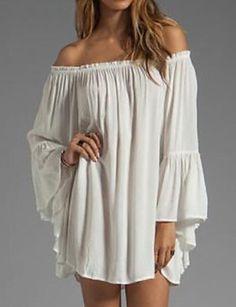 e6a71eaca58 Women s Chiffon Dress - Solid Colored White Mini Boat Neck 6154654 2018 –   6.29 Chemise Medieval