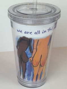 16 oz BPA-Free Acrylic Tumbler with Lid and Straw We're all in this together™, $14.99