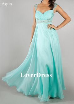 Aqua Prom Dress Cap Sleeve Prom Dresses Peach by LoverDress