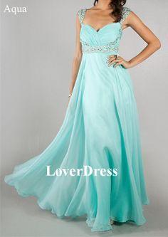 Aqua Prom Dress Cap Sleeve Prom Dresses Peach by LoverDress