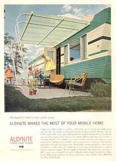 1960 Detroiter people discover the joys of a caravan in the mobile, everything under one roof, but cramped and hell on earth if you are a light sleeper Caravan Vintage, Vintage Rv, Vintage Campers Trailers, Retro Campers, Cool Campers, Vintage Caravans, Vintage Patio, Vintage Florida, Happy Campers