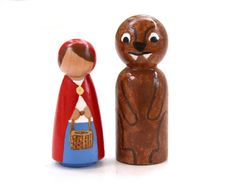 Little Red Riding Hood Peg People by BrightLifeToys on Etsy, $30.00