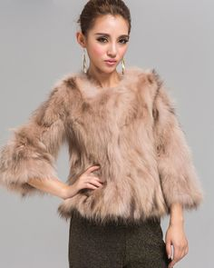 White Raccoon Fur Coats With More Color