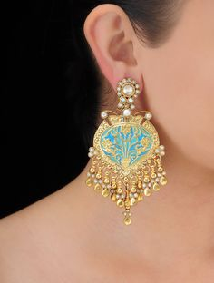 Buy Golden Blue Spade Silver Earrings Pearls Jewelry Royal Rewards Stone Encrusted God and Goddess Idols Statement Online at Jaypore.com