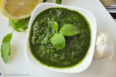 Mint and Coriander Chutney Recipe Condiments and Sauces with water, fresh mint, fresh cilantro, green chilies, fresh lemon juice, large garlic cloves, salt, ground cumin