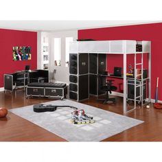 Bedroom, : Studio Themes Teen Bedroom Design With Sound System Shape Furniture And Loft Bed Design For Teen Bedroom Ideas Inspiration