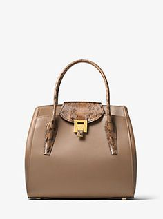 fed3b592055 Bancroft Large Calf Leather and Snakeskin Satchel Backpack Purse, Satchel  Bag, Calf Leather,