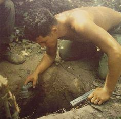 Vietnam War tunnel rat | and then destroy the tunnel thus their name tunnel rats