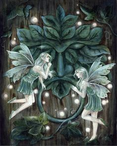 ☆ Greenman's Door :¦: By Artist Janna Prosvirina ☆ Fairy Myth Mythical Mystical Legend Elf Faerie Fae Wings Fantasy Elves Faries Sprite Nymph Pixie Faeries Hadas Enchantment Forest Whimsical Whimsy Mischievous