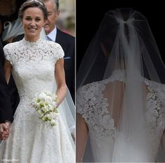 "*PIPPA MIDDLETON ~ (Kate's sister)was a radiant bride in a bespoke Giles Deacon creation-crafted to give the impression of being seamless. Giles said of the collaboration:""I was thrilled to work with Pippa on her wedding dress.May 20, 2017"