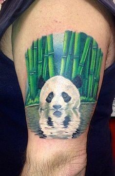 I don't want this one, but how cute is this?!  Bamboo And Panda Tattoo tobiastattoo.com #panda #tattoo