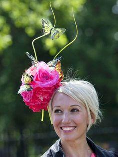 Ascot hats 2014. Pretty pink flowers  butterflies