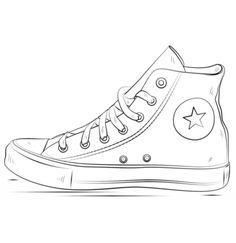 Converse Shoes Coloring Page From Clothes And Category Select 24661 Printable Crafts Of Cartoons Nature Animals Bible Many More