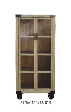 Chinese Antique Natural Wood Glass Door Display Cabinet w/Wheel WK2232 #Handmade #Asian  650-522-9888 goldenlotusinc@yahoo.com #interior #restoration #industial #furnishing