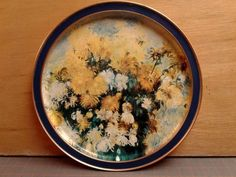 "Vintage Sunshine Biscuits ""Bouquet of Chrysanthemums"" Round Tin Tray Renoir #SUNSHINEBISCUITS"