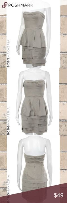 """BCBG MAXAZRIA Beige Peplum Tiered Strapless Dress SIZE 0. 34"""" Length. 24"""" Waist. 28"""" Bust. Beige/Khaki Color. Strapless Style. Pleated Peplum Top. Asymmetrical Tiered Skirt. 66% Cotton/30% Nylon/4% Spandex Blend. Fully Lined-97% Polyester/3% Spandex Blend. Dry Clean. Perfect Condition. WORN ONCE BCBGMaxAzria Dresses Strapless"""