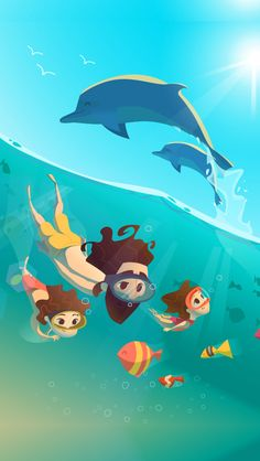 ↑↑TAP AND GET THE FREE APP! Lockscreens Art Creative Sea Sky Water Summer Vacation Dolphin Multicolor Blue Fun HD iPhone 5 Lock Screen