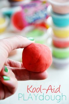 Homemade Kool-Aid Playdough Recipe. Kids love this stuff! #kids