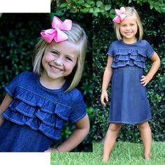 Denim Ruffle Front Dress simply adorable.