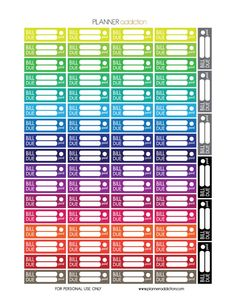 Free Printable Planner Stickers - Bill Due - Erin Condren, Happy Planner & Large Happy Planner To Do Planner, Passion Planner, Planner Pages, Happy Planner, Planner Ideas, Monthly Planner, Life Planner, Planner Supplies, Blog Planner