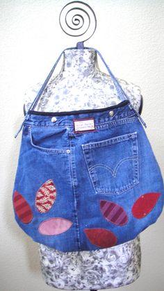Applique Repurposed Jeans purse