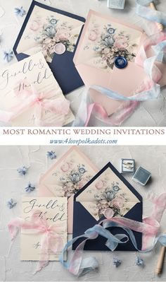 Floral wedding invitations in beautiful and delicate Pink & Navy color scheme. Modern calligraphy, envelopes liners and wax seal to choose. All fully assembled and completely customizable. Perfect for romantic and subtle bride. Design with touch of vintage style #wedding