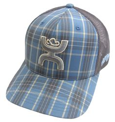"""HOOey hats available at Billy's Western Wear! Style CR004 Blue Plaid with Cactus Ropes and HOOey logos. """"CR4"""""""