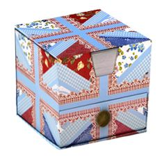 Memo Cube with Patchwork Jack design.