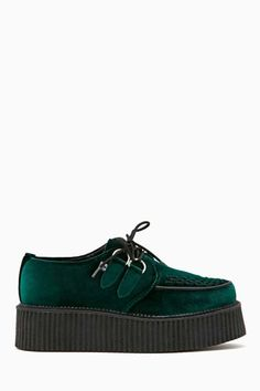 Way cool green velvet creepers featuring a lace-up front and black rubber platform.