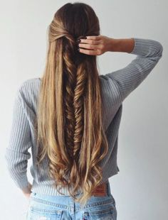 Thick fishtail braid, perfect for long hair.
