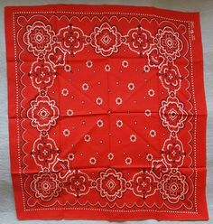 Vintage red cotton Western bandana handkerchief printed with elephant trunk down; mint condition never used. Measurements: 23 x 21 inches. Selvage on