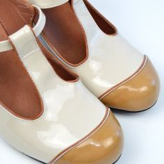 The Dusty In Cream & Coffee Patent Leather – Ladies Retro T-Bar Shoe by Modshoes Mod Shoes, T Bar Shoes, Classic Looks, Retro Fashion, Character Shoes, Patent Leather, High Heels, Take That, Dance Shoes