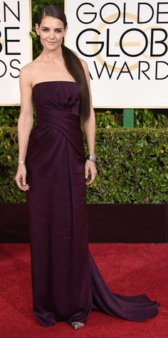 Katie Holmes in Marchesa at the Golden Globes 2015 | #redcarpet #GoldenGlobes #redcarpetfashion