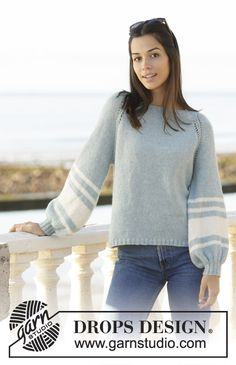 Hamptons Holiday - Knitted sweater with balloon sleeves in DROPS Sky. The piece is worked top down with raglan and striped sleeves. Sizes S - XXXL. - Free pattern by DROPS Design Jumper Knitting Pattern, Cardigan Pattern, Knitting Patterns Free, Knit Patterns, Free Knitting, Free Pattern, Drops Design, Magazine Drops, Work Tops