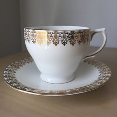 Windsor White and Gold Vintage Teacup and Saucer, English Tea Cup and Saucer, Tea Party, Fine Bone China set by CupandOwl on Etsy