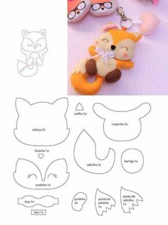 Moldes de Feltro - Lowly Tutorial and Ideas Felt Doll Patterns, Felt Animal Patterns, Felt Crafts Patterns, Stuffed Animal Patterns, Sewing Toys, Sewing Crafts, Sewing Projects, Felt Templates, Felt Fox