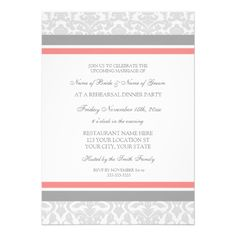 Coral Gray Damask Rehearsal Dinner Party Invite