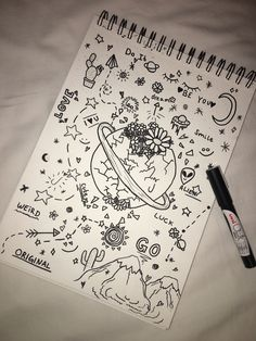 Dibujos space fineline drawings, art sketches и doodle art Tumblr Drawings, Small Drawings, Doodle Drawings, Cartoon Drawings, Easy Drawings, Notebook Doodles, Doodle Art Journals, Simple Doodles, Cute Doodles